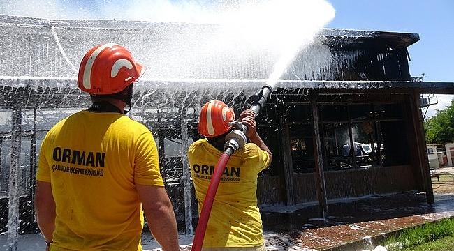 Dardanos Orman Kampı'nda korkutan yangın