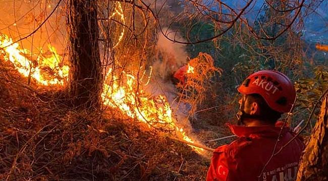 Rize'de bahçe temizliği yapmak isteyen vatandaş örtü yangınına neden oldu