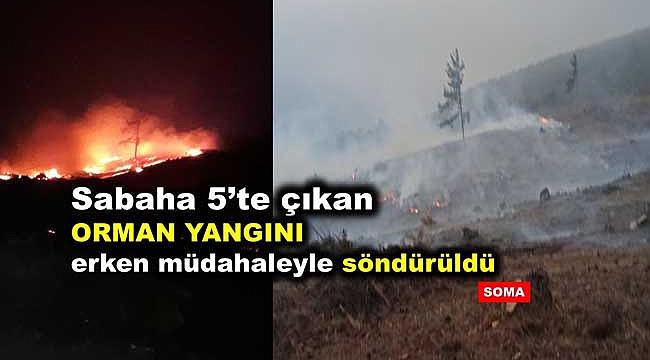 Manisa Soma'da Çıkan  Orman Yangını Büyümeden Söndürüldü